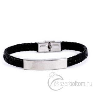 Simply City fekete színű acél fonott karkötő