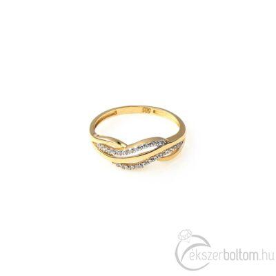 Sárga arany sokköves gyűrű hullám mintázattal