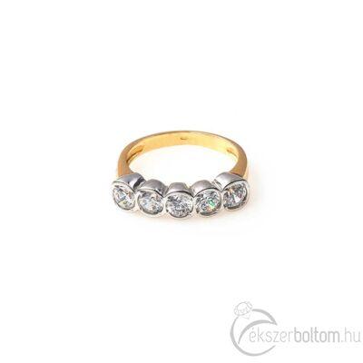Sárga arany ötköves gyűrű a kőfoglalatokon ródiumozással