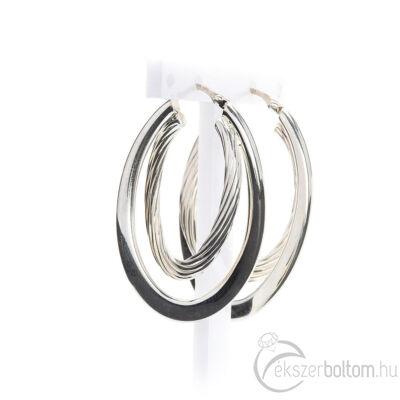 Dupla ovális üreges ezüst fülbevaló