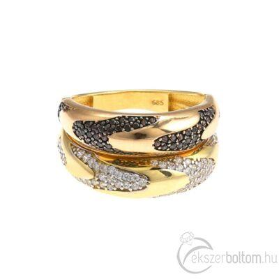 """""""Casa Milá"""" sárga-rozé arany sokköves gyűrű"""