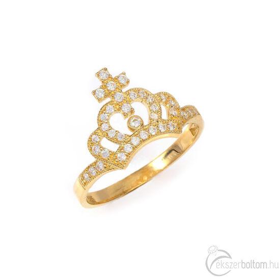 Princess Charming koronás arany gyűrű, 14 kt