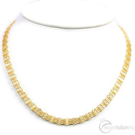 Széles alkalmi arany nyaklánc, 14 kt