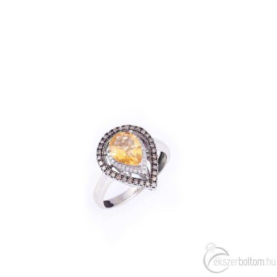 Brilles arany gyűrű egy nagy citrin kővel