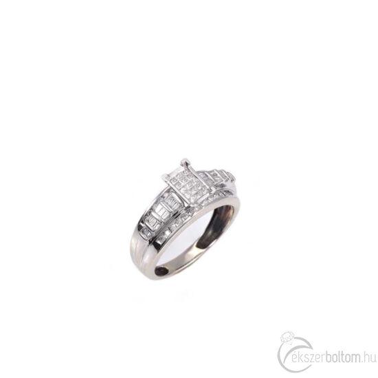 Brilles, baguette-gyémántokkal díszített arany gyűrű
