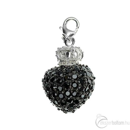 Fekete kristályos ezüst szív medál