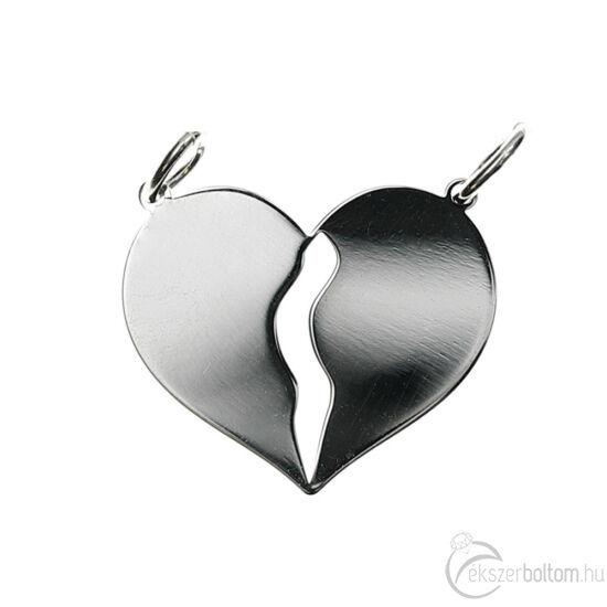 Közepes méretű, ezüst törhető szív medál