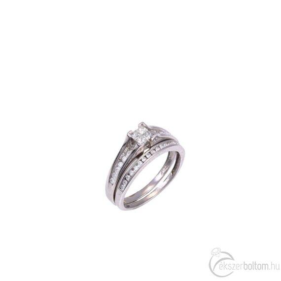Princess foglalású, brilles arany gyűrű