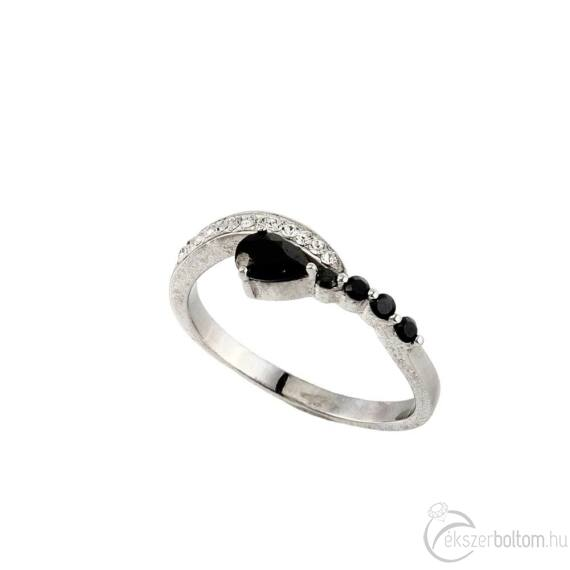 """""""Black Drop"""" (""""Fekete csepp"""") ezüst gyűrű"""