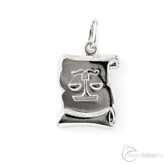 """""""Libra"""" (Mérleg) ezüst pergamen lapmedál"""