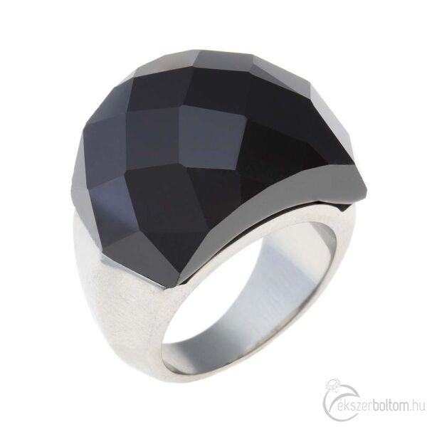 Chloe fekete nagy köves női acél gyűrű