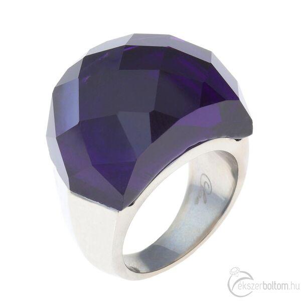 Chloe sötétkék nagy köves női acél gyűrű