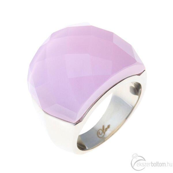 Chloe rózsaszín nagy köves női acél gyűrű