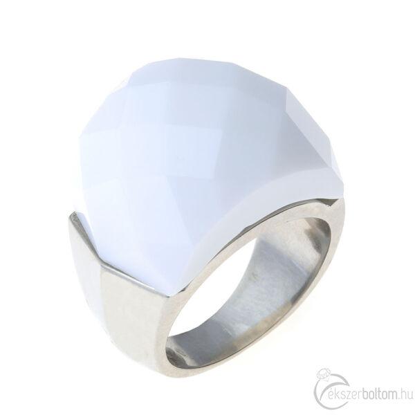 Chloe tejfehér nagy köves női acél gyűrű