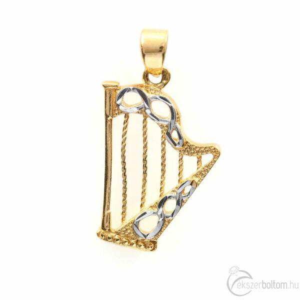 14 karátos arany hárfa medál
