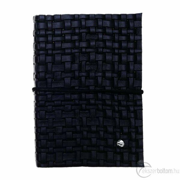 Cango & Rinaldi fekete nyomott fonatmintás bőr kötésű jegyzetfüzet