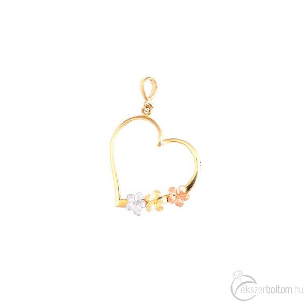 Virágos nagy szív 14 karátos arany medál