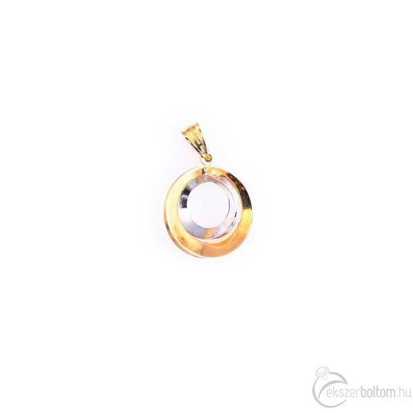 Sárga és fehér 14 karátos arany karikás medál