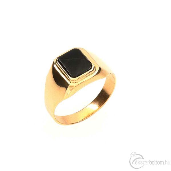 Kisebb onix fejű 14 karátos arany pecsétgyűrű (64-es méret)