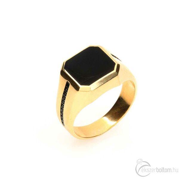 Közepes onix fejű 14 karátos arany pecsétgyűrű fekete kövekkel (66-os méret)
