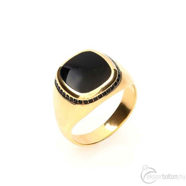 Nagyobb onix 14 karátos arany fejű pecsétgyűrű fekete kövekkel (66-os méret)