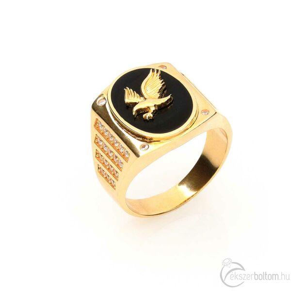Sasos onix fejű 14 karátos arany pecsétgyűrű fehér cirkónia kövekkel (64-es méret)