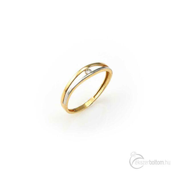 Sárga arany egyköves gyűrű ródiumozott díszítéssel