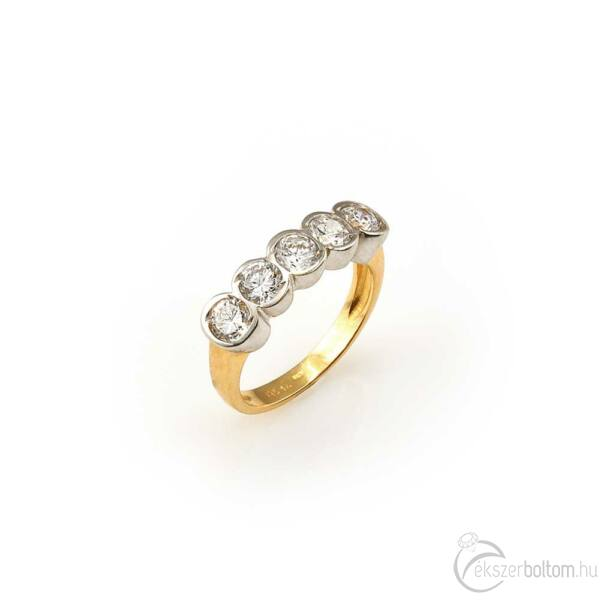 Sárga arany ötköves gyűrű a kőfoglalatokon ródiumozással, 4 mm-es cirkónia kövekkel