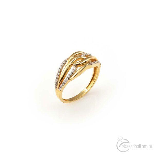 Sárga arany sokköves gyűrű összefonódó mintázattal