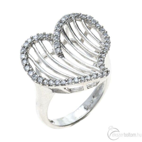 Ródiumozott, sokköves ezüst rácsos szíves gyűrű fehér cirkónia kövekkel