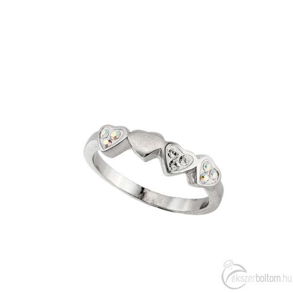 """""""2 Szív 1"""" ezüst gyűrű"""