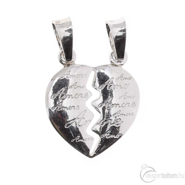 Ródiumozott ezüst Amore törhető szív medál