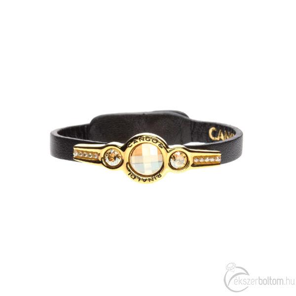 Cango & Rinaldi Magic fekete karkötő arany fémmel és kristályokkal