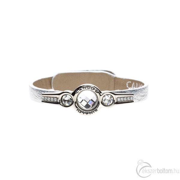 Cango & Rinaldi Magic ezüst karkötő nikkel fémmel és fehér kristályokkal