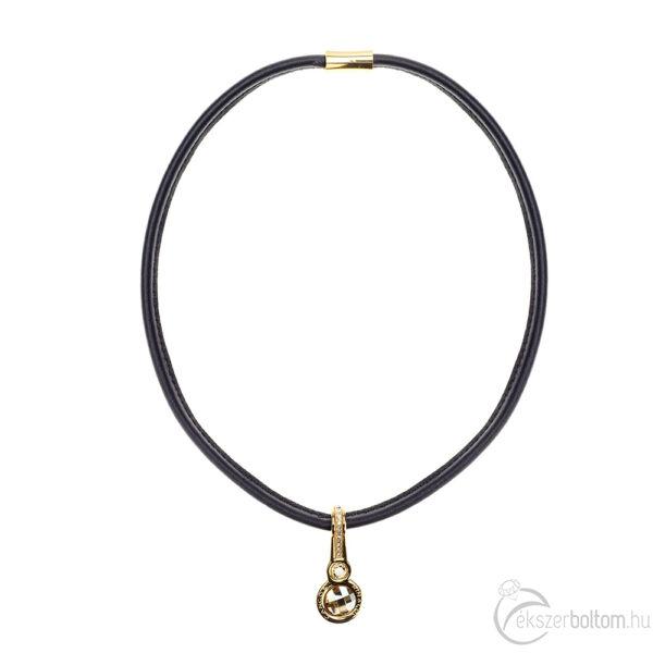 Cango & Rinaldi Magic fekete nyaklánc arany fémmel és kristályokkal
