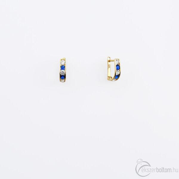 Sárga 14 karátos arany baba/gyermek fülbevaló fehér és kék kövekkel