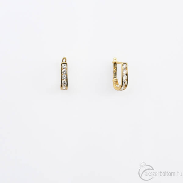 Sárga 14 karátos arany baba/gyermek fülbevaló fehér kövekkel