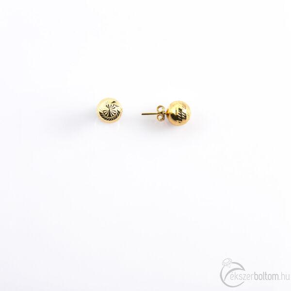 Vésett bogyós sárga 14 karátos arany fülbevaló (közepes)
