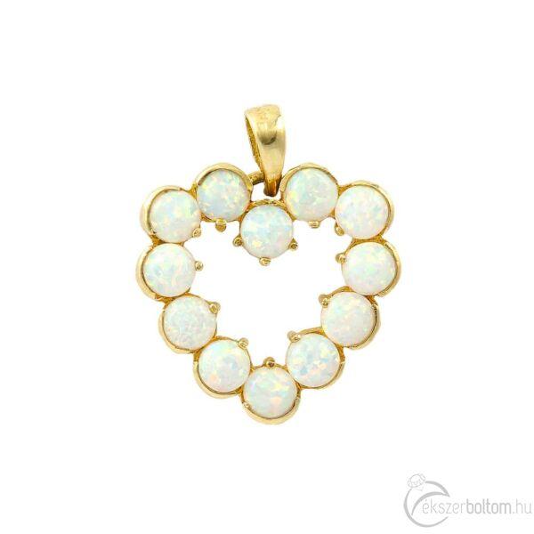 Sárga 14 karátos arany opál szív medál