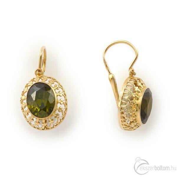 Elöl kapcsos sárga 14 karátos arany fülbevaló zöld kővel