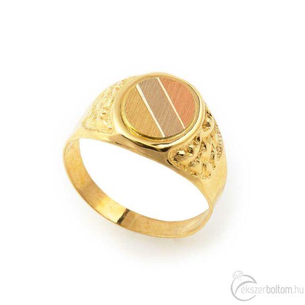 Sárga 14 karátos arany férfi pecsétgyűrű trikolor díszítéssel (69-es méret)