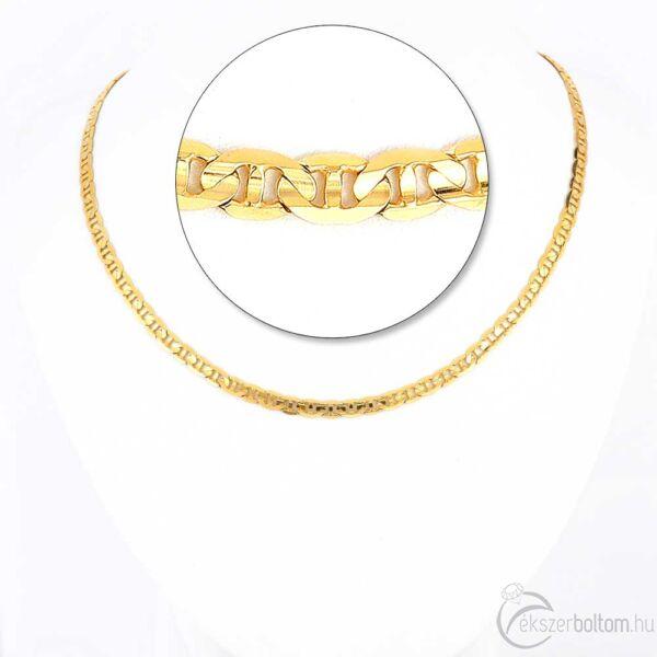 "Sárga 14 karátos arany, tömör ""gucci"" típusú lánc férfiaknak, 60 cm"