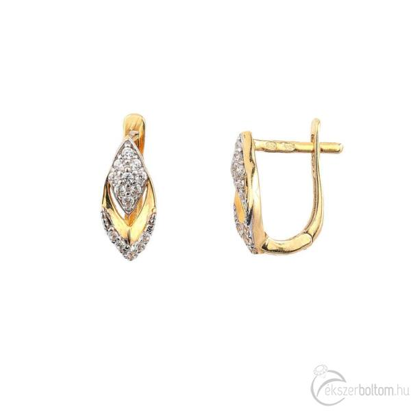 Sárga 14 karátos arany levél alakú fülbevaló fehér cirkónia díszítéssel