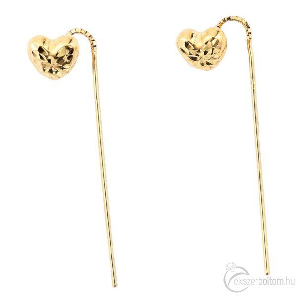 Sárga arany áthúzós szivecske fülbevaló