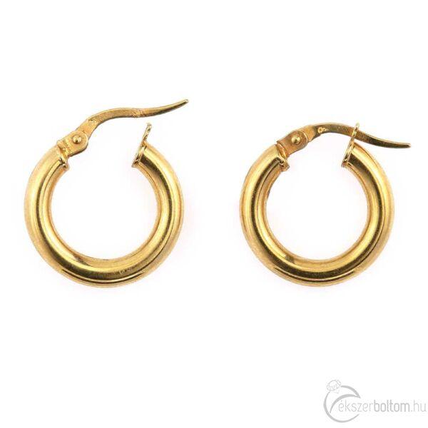 Sárga 14 karátos arany, vastag, üreges karika fülbevaló (kisebb)