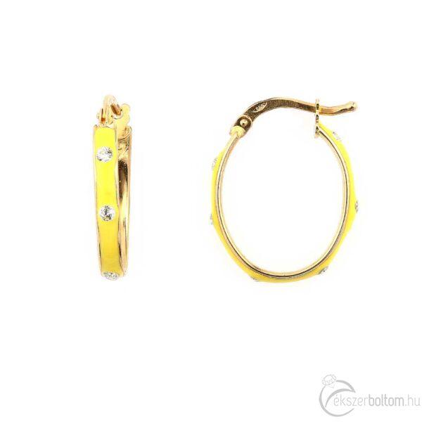 Sárga zománcos sárga 14 karátos arany ovális karika fülbevaló