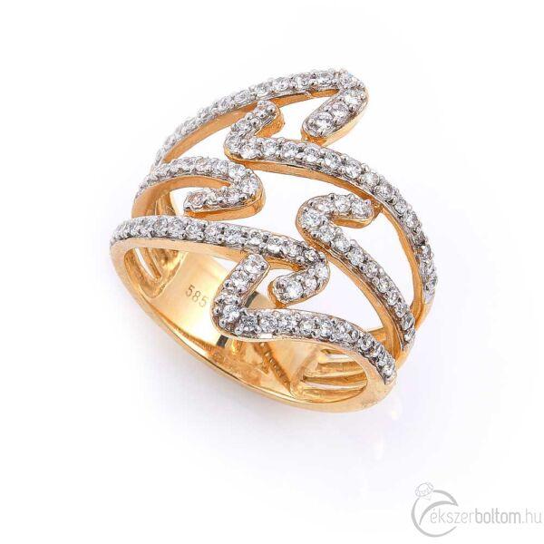 Sárga arany női gyűrű, kacskaringós köves díszítéssel