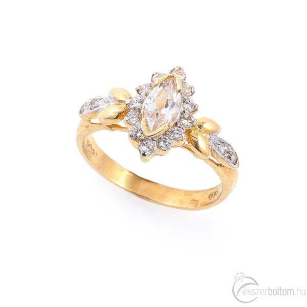 Monarch sárga 14 karátos arany női gyűrű (58-as méret)