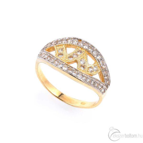 W sárga 14 karátos arany sokköves női gyűrű (57-es méret)