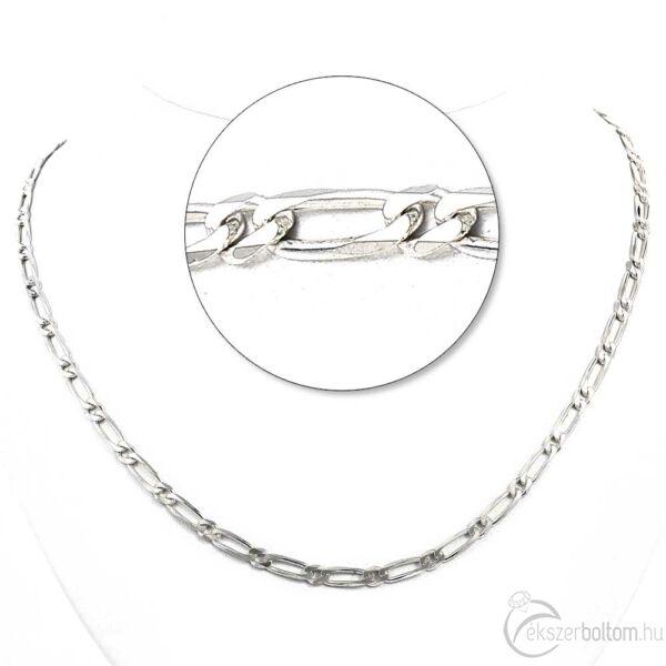 Ezüst 1+1-es figaró lánc
